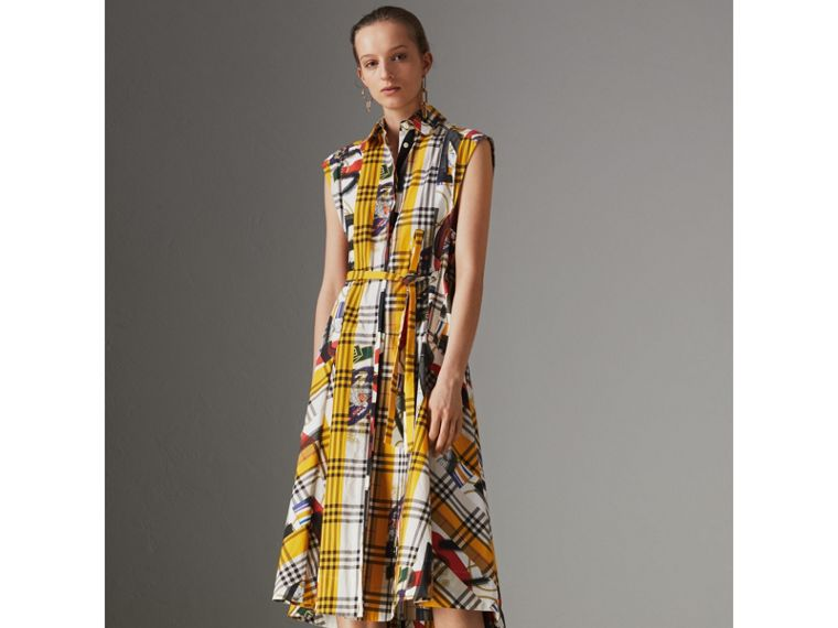 Archive Scarf Print Check Cotton Shirt Dress in Multicolour - Women | Burberry Australia - cell image 4