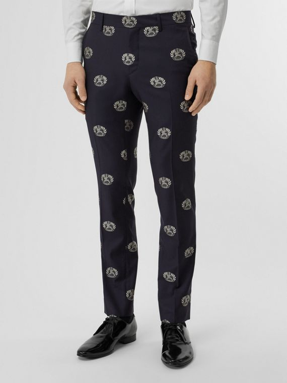 Slim Fit Fil Coupé Crest Wool Tailored Trousers in Midnight Blue