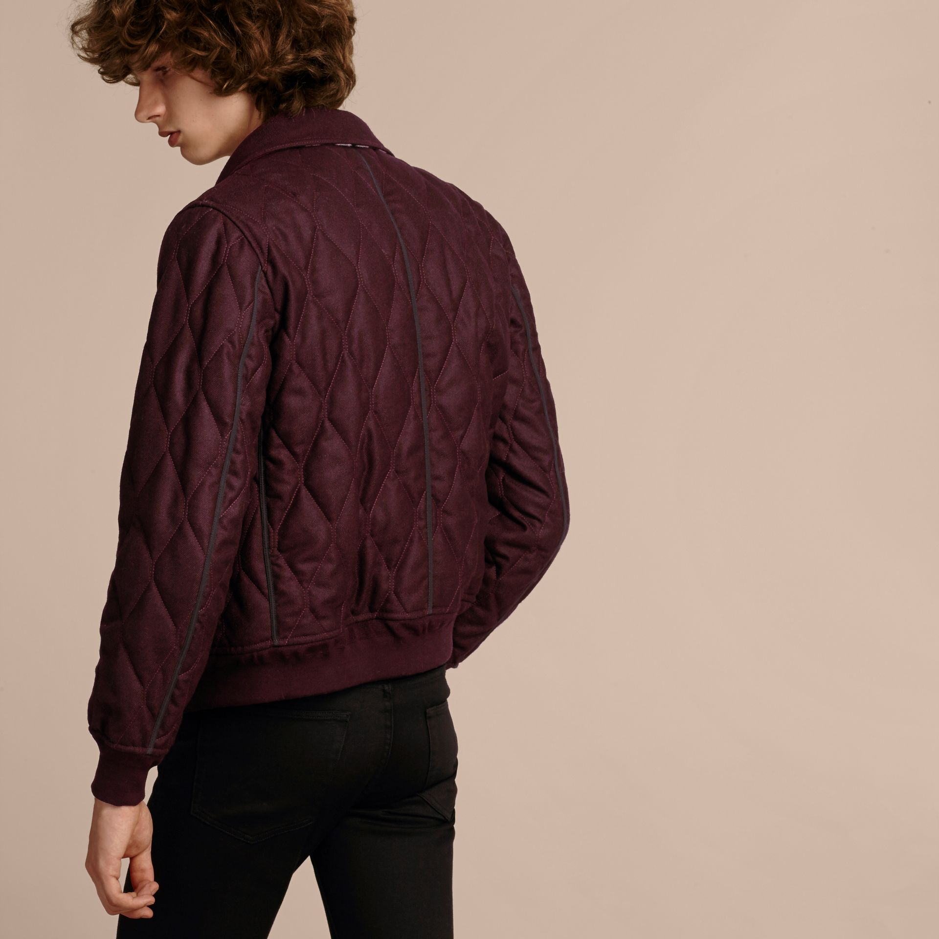 Deep burgundy mel Military Quilt Wool Jacket with Shearling Collar - gallery image 3