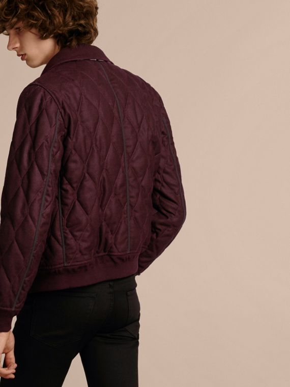 Deep burgundy mel Military Quilt Wool Jacket with Shearling Collar - cell image 2