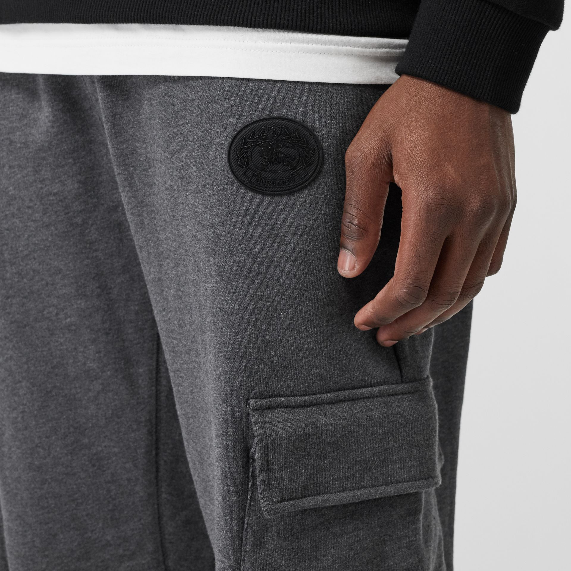 Pocket Detail Cotton Jersey Trackpants in Mid Grey Melange - Men | Burberry - gallery image 1