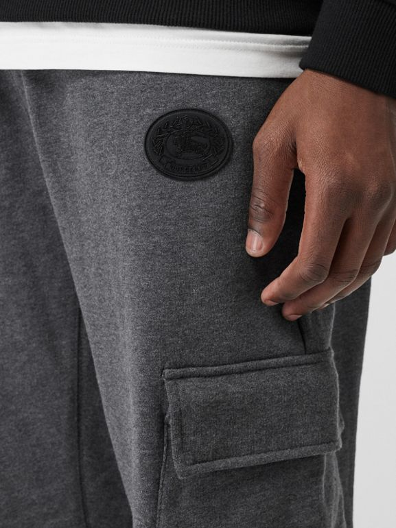Pocket Detail Cotton Jersey Trackpants in Mid Grey Melange - Men | Burberry - cell image 1