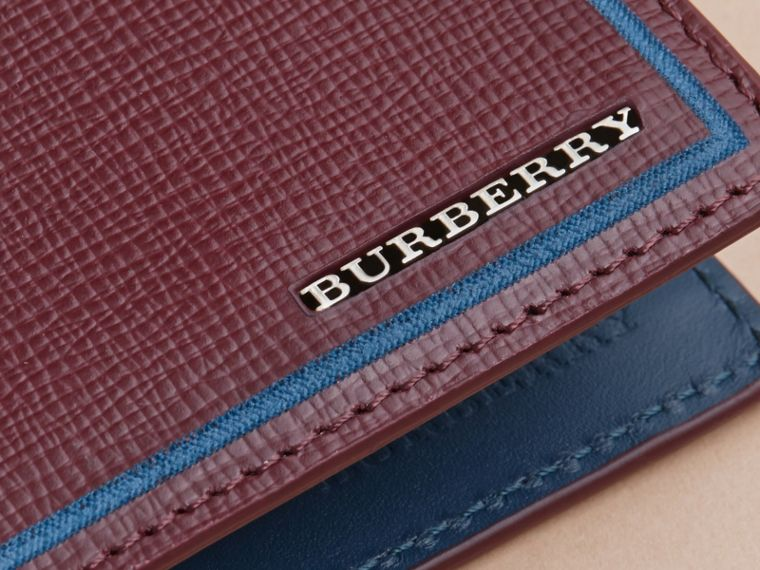 Border Detail London Leather Bifold Wallet Burgundy Red - cell image 1