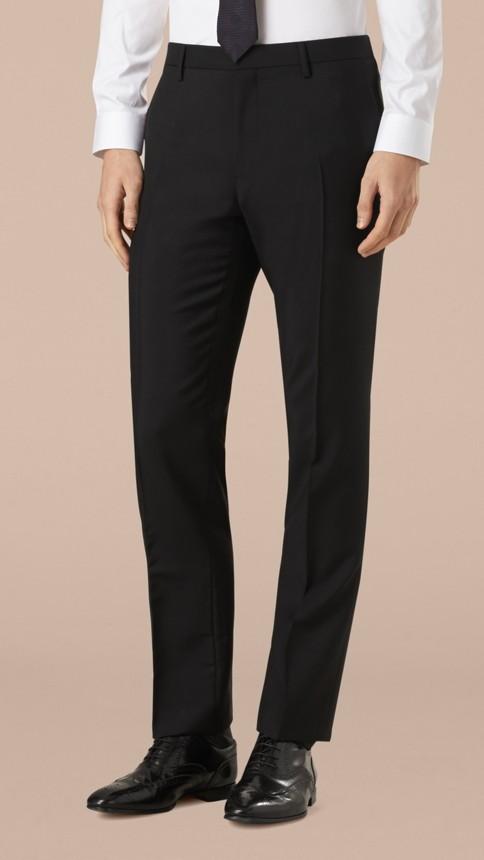 Black Modern Fit Wool Mohair Part-canvas Suit Black - Image 6