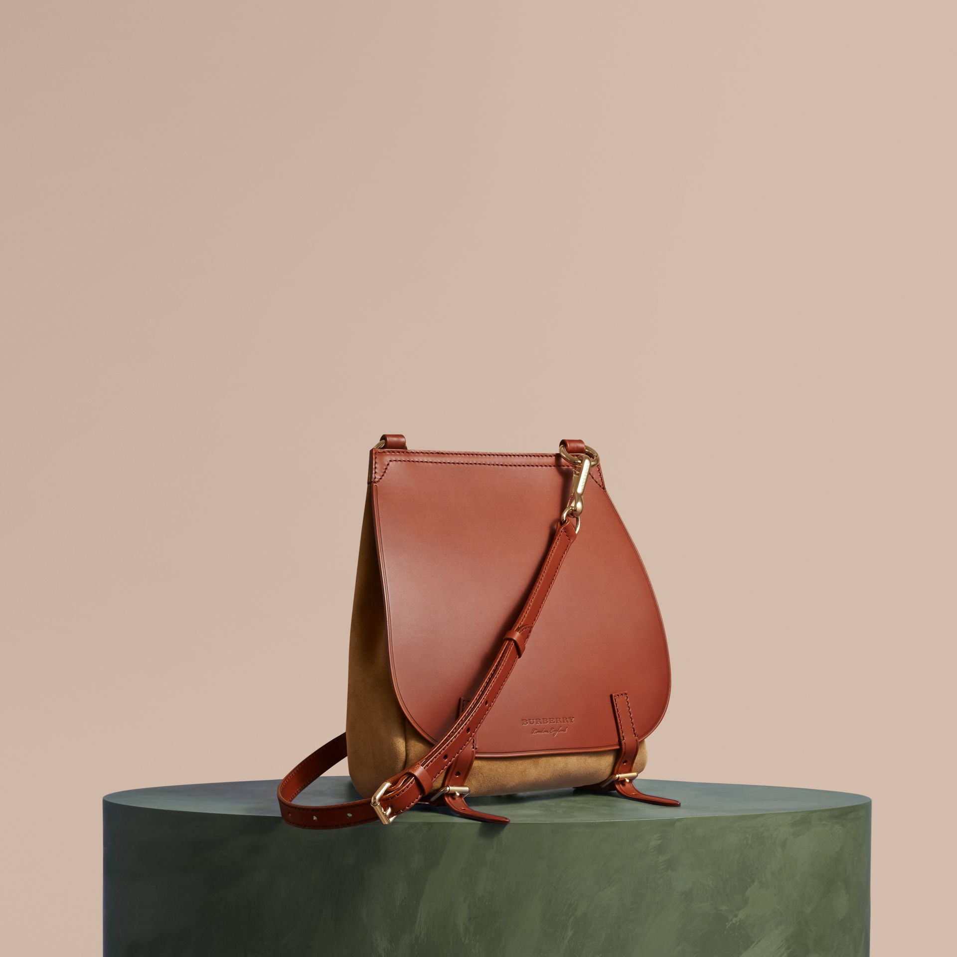 The Small Bridle Bag in Leather and Suede in Tan - Men | Burberry - gallery image 1