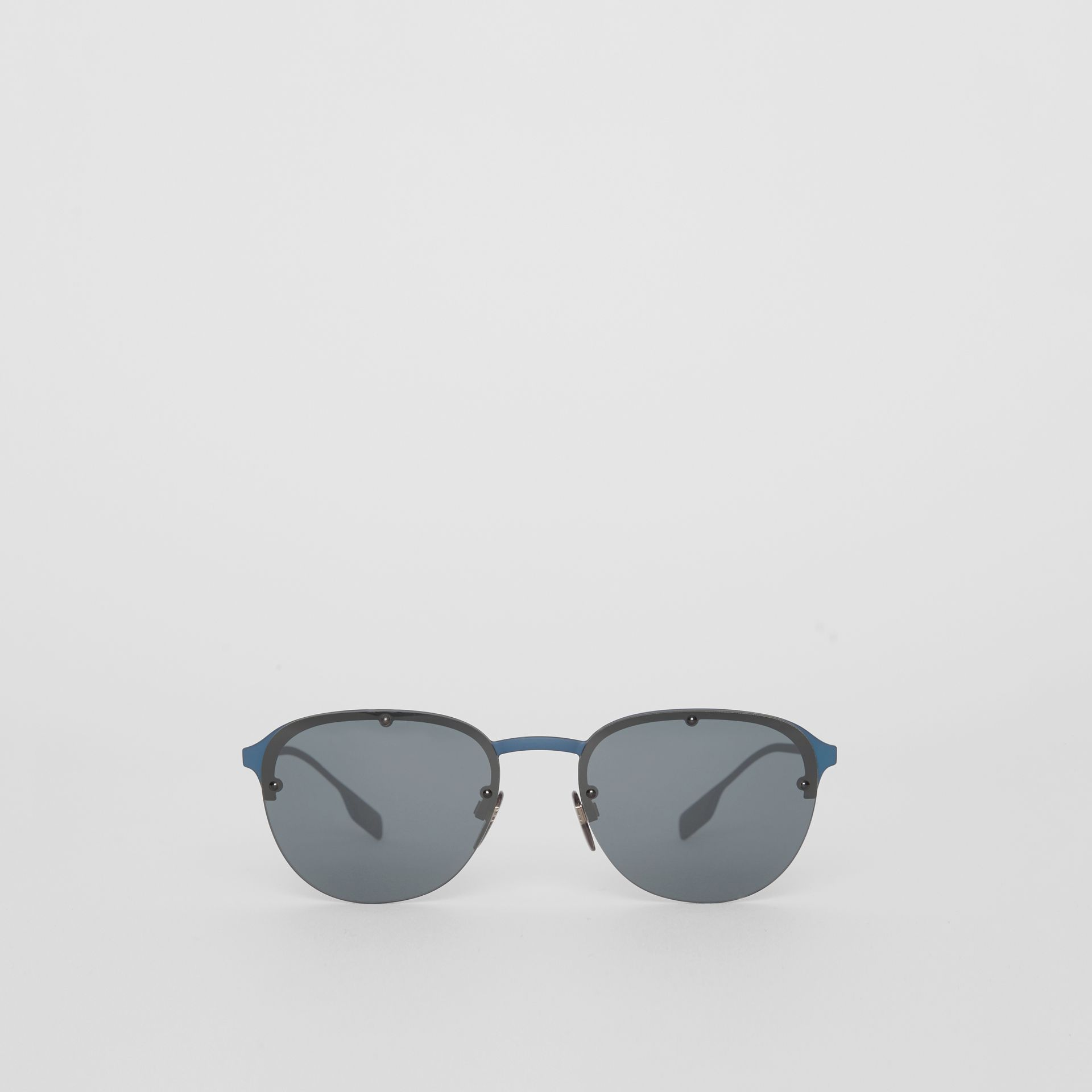 Round Frame Sunglasses in Blue - Men | Burberry - gallery image 0