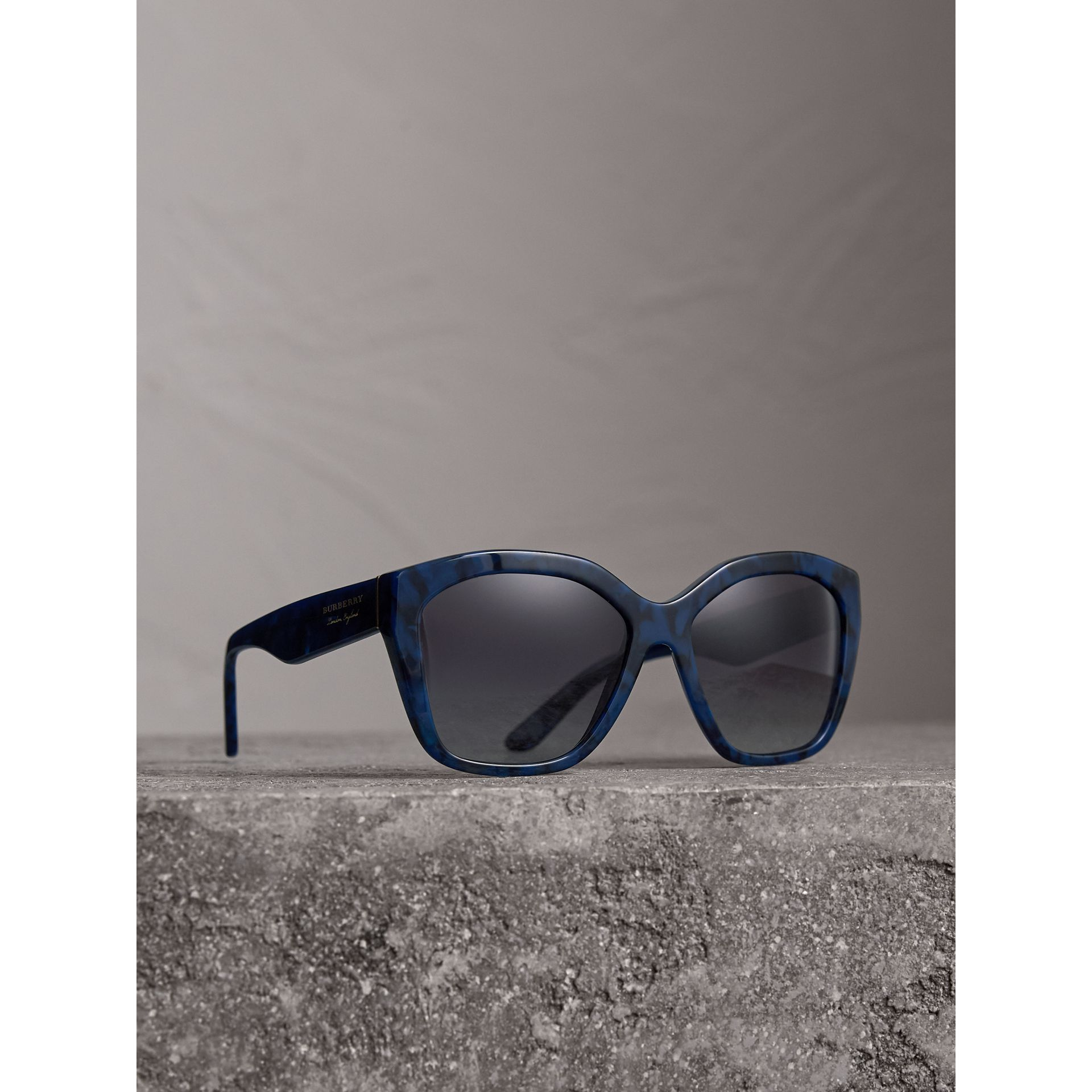 Square Frame Sunglasses in Blue - Women | Burberry United Kingdom - gallery image 0