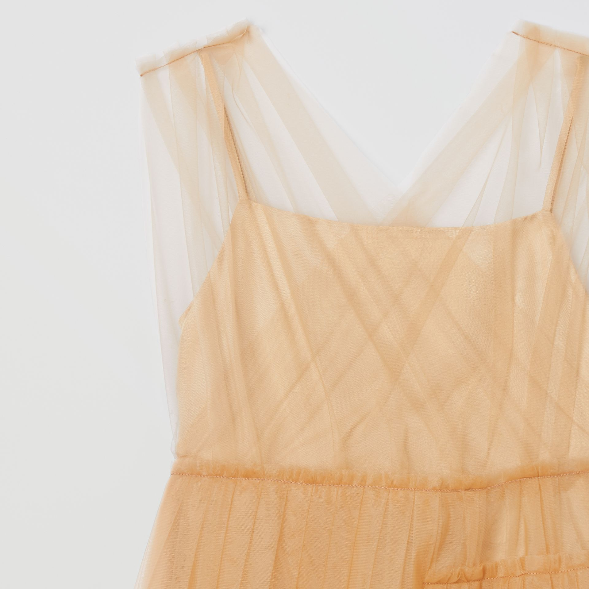 Tulle Tiered Dress in Oyster Beige | Burberry United Kingdom - gallery image 4