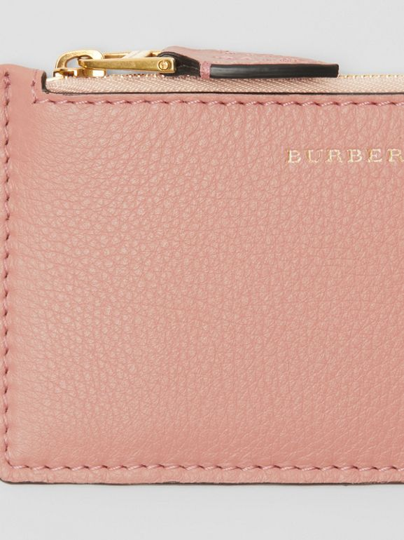 Two-tone Leather Zip Card Case in Ash Rose - Women | Burberry United States - cell image 1