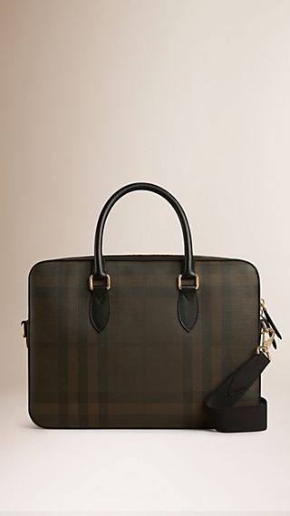 Attaché-case Smoked check avec éléments en cuir