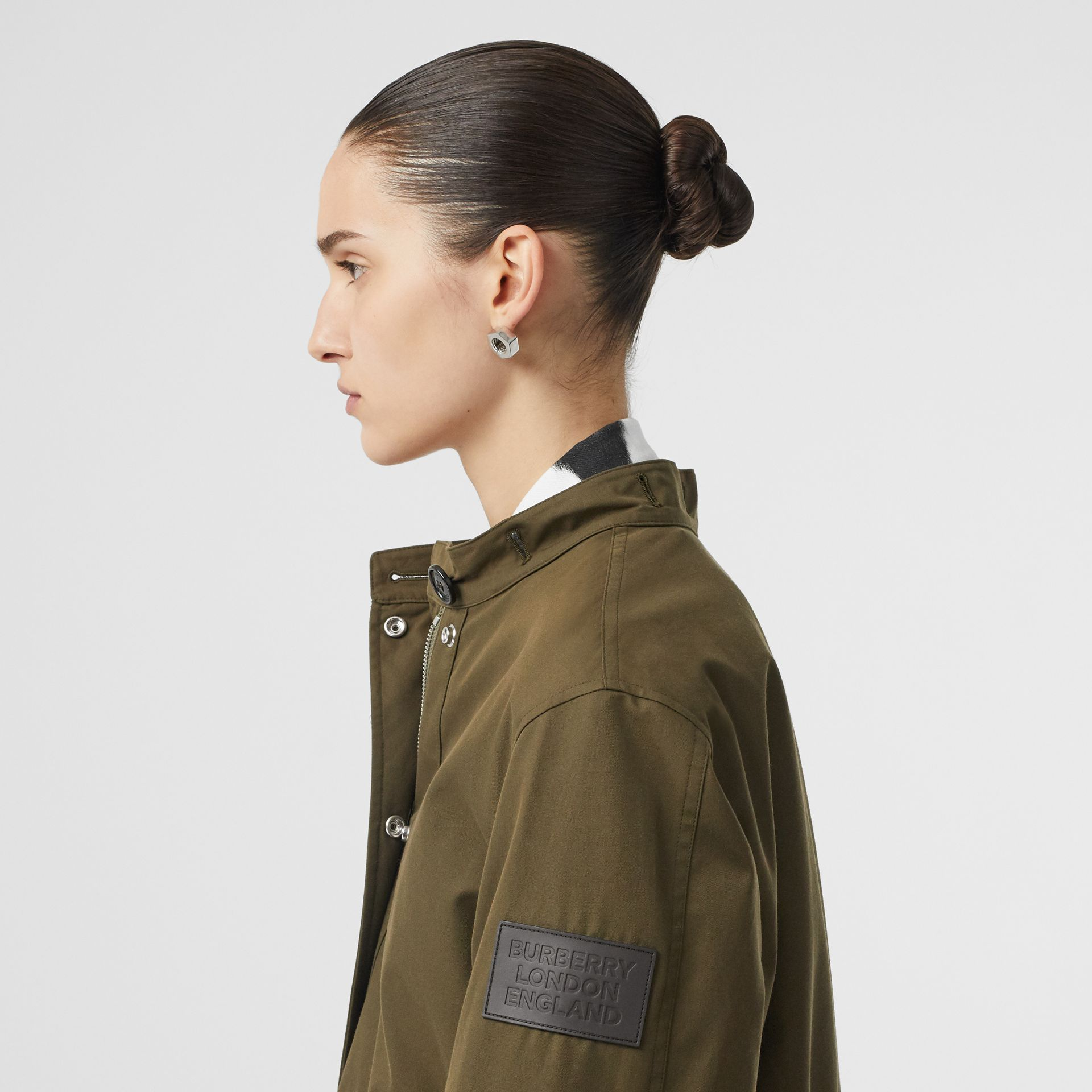 Detachable Hood Cotton Gabardine Parka in Dark Military Khaki - Women | Burberry - gallery image 5