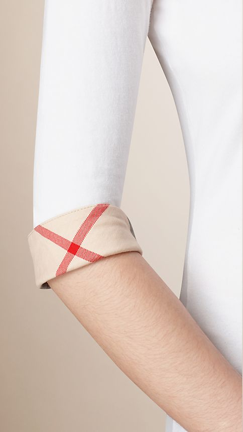 White Check Cuff Stretch-Cotton Top - Image 3