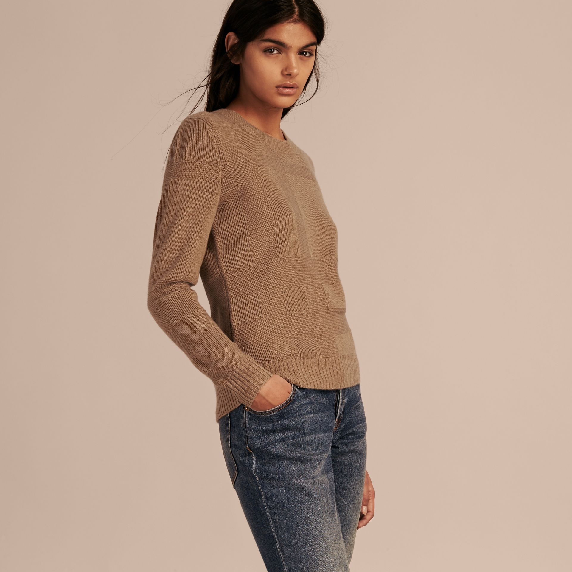 Check-knit Wool Cashmere Sweater in Camel - gallery image 6