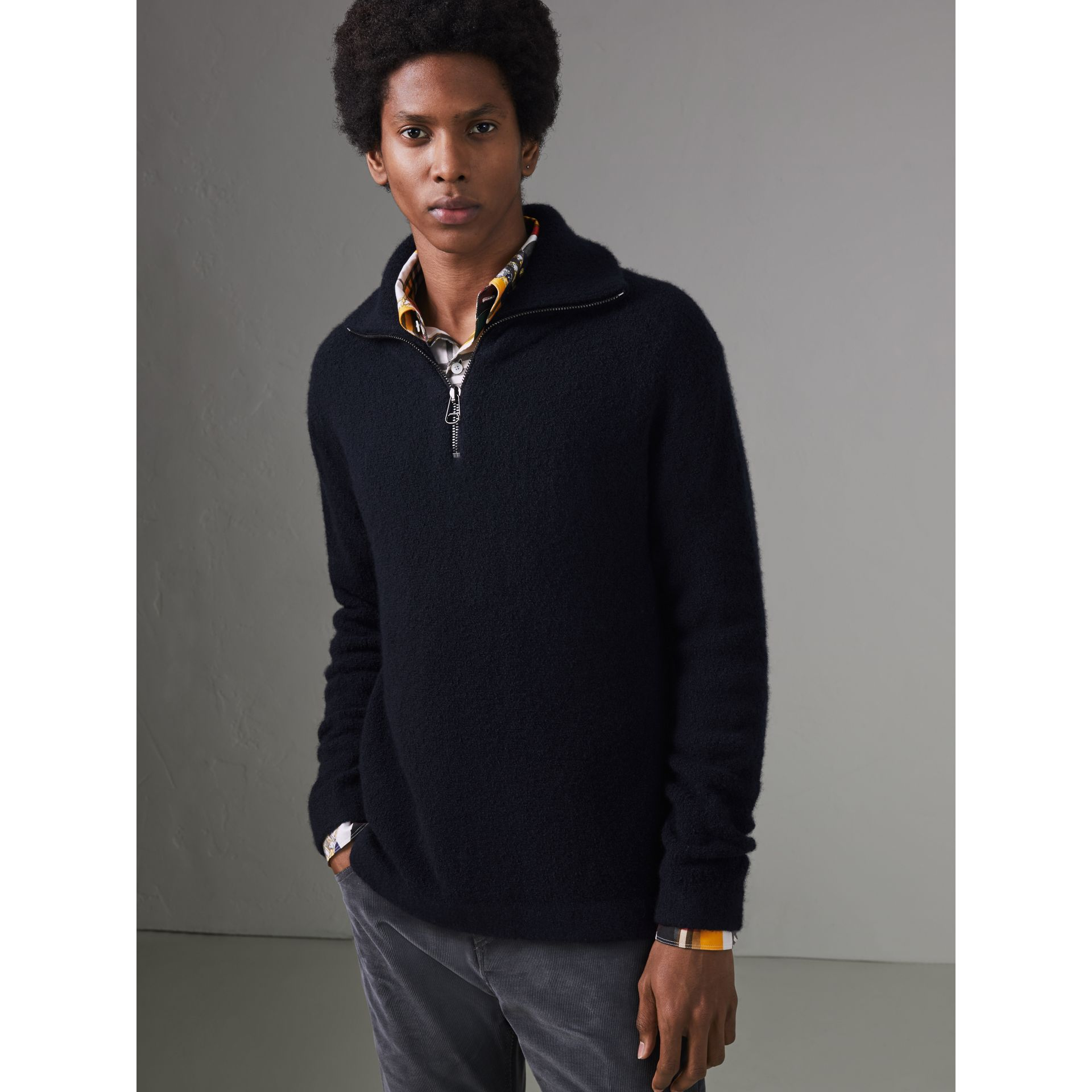 Zip-neck Cashmere Blend Fleece Sweater in Navy - Men | Burberry - gallery image 5