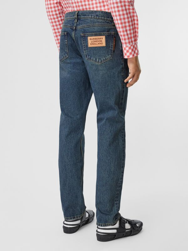 Straight Fit Washed Jeans in Indigo - Men | Burberry - cell image 2