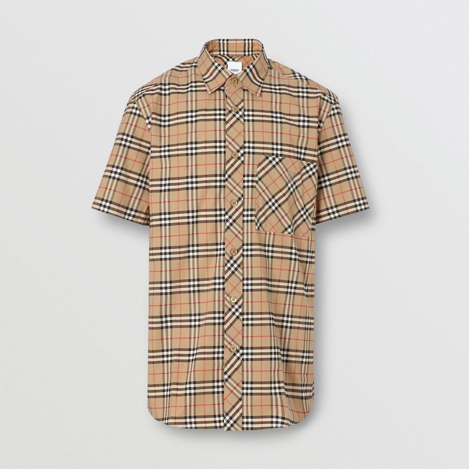 Short-sleeve Small Scale Check Stretch Cotton Shirt in Archive Beige - Men | Burberry Canada - gallery image 3