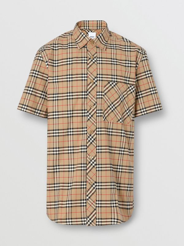 Short-sleeve Small Scale Check Stretch Cotton Shirt in Archive Beige - Men | Burberry - cell image 3