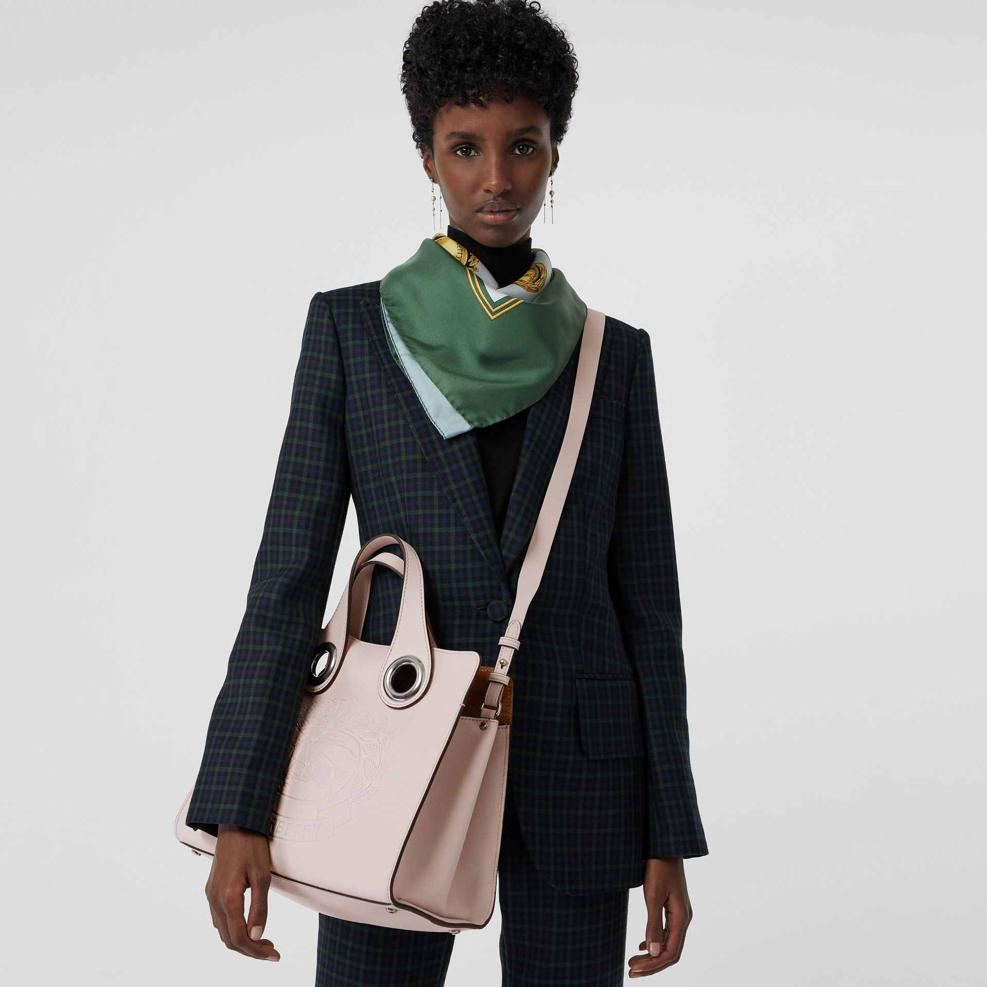 The Leather Crest Grommet Detail Tote in Chalk Pink - Women | Burberry - gallery image 3