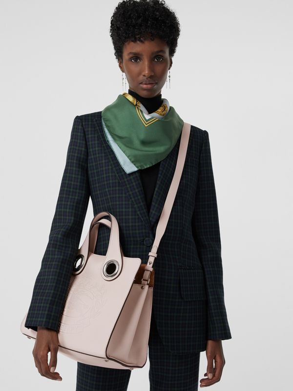 The Leather Crest Grommet Detail Tote in Chalk Pink - Women | Burberry - cell image 3