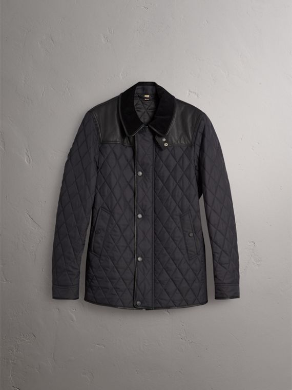 Lambskin Yoke Diamond Quilted Jacket in Black - Men | Burberry United Kingdom - cell image 3