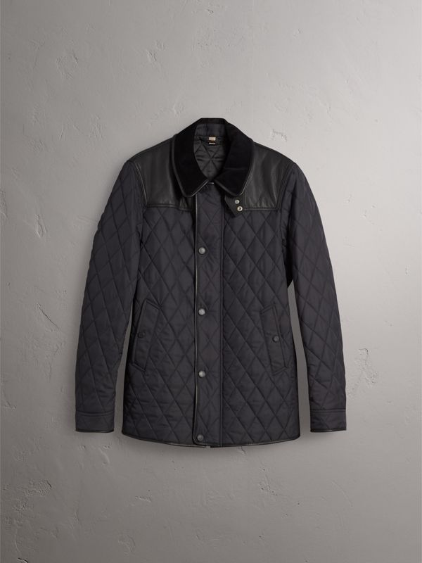 Lambskin Yoke Diamond Quilted Jacket in Black - Men | Burberry Singapore - cell image 3
