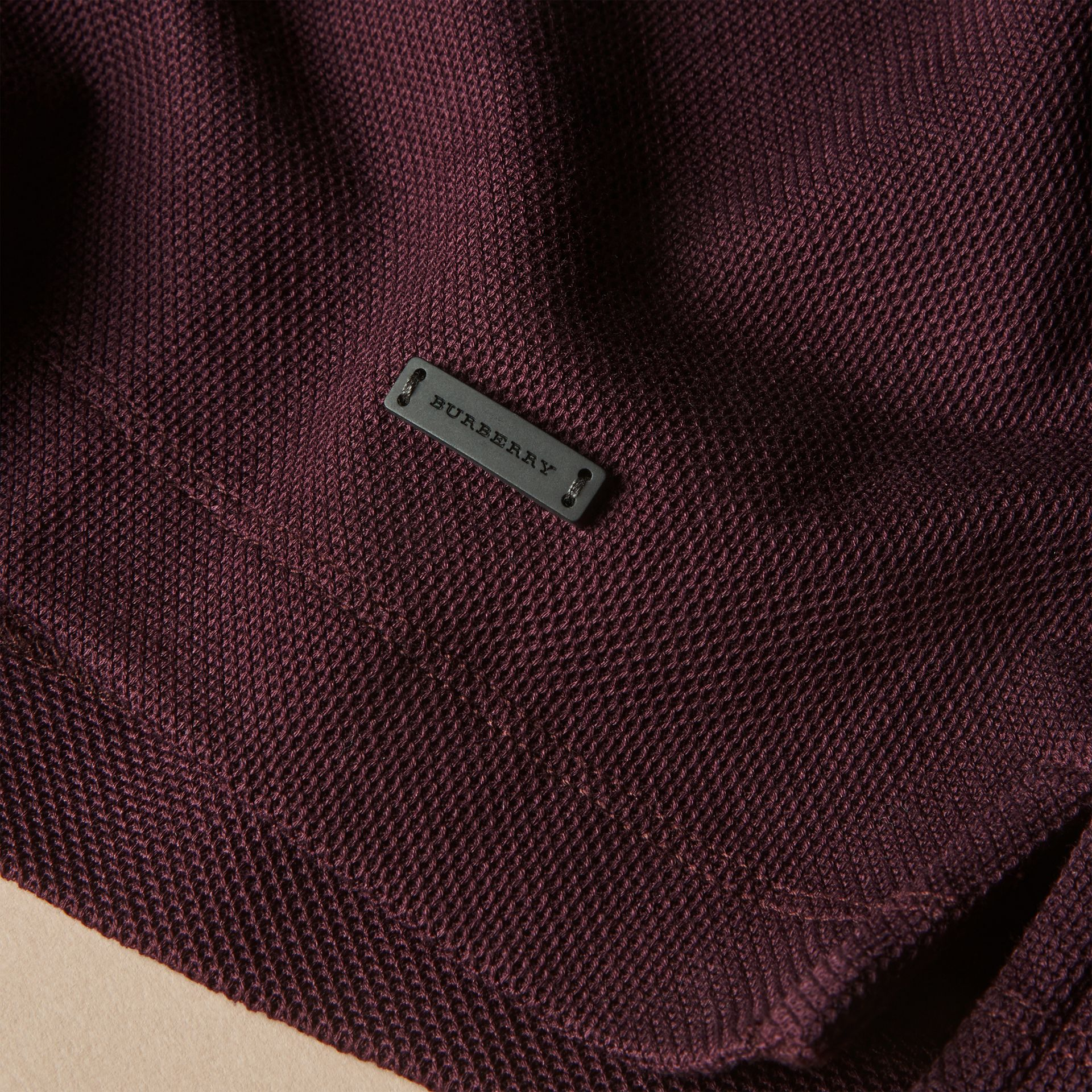 Piped Cotton Piqué Polo Shirt in Burgundy - gallery image 2
