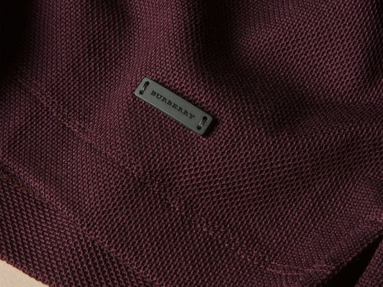 Piped Cotton Piqué Polo Shirt in Burgundy - cell image 1