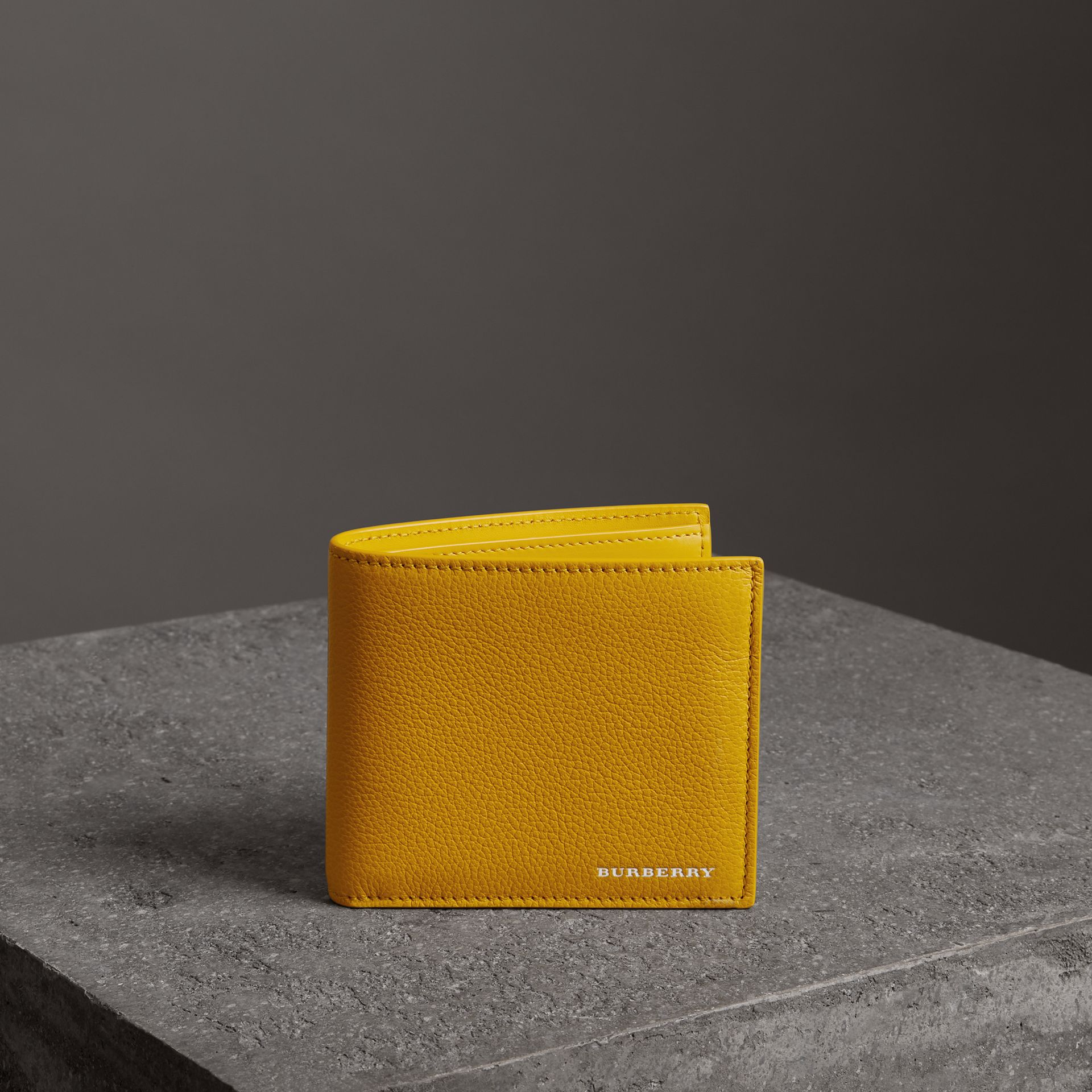 Grainy Leather International Bifold Wallet in Bright Ochre Yellow - Men | Burberry Canada - gallery image 0