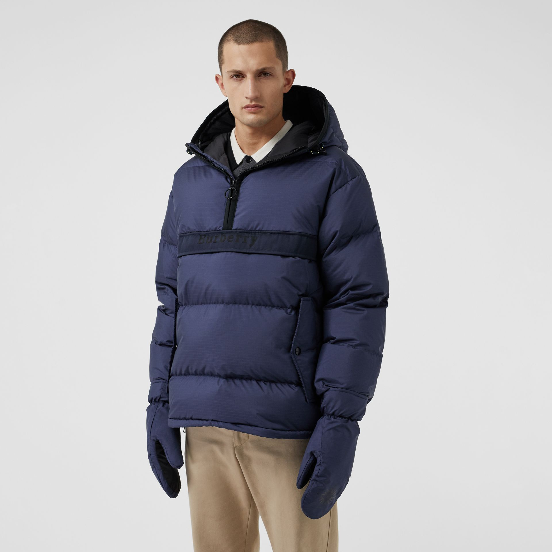 Down-filled Anorak with Detachable Mittens in Ink - Men | Burberry United Kingdom - gallery image 6