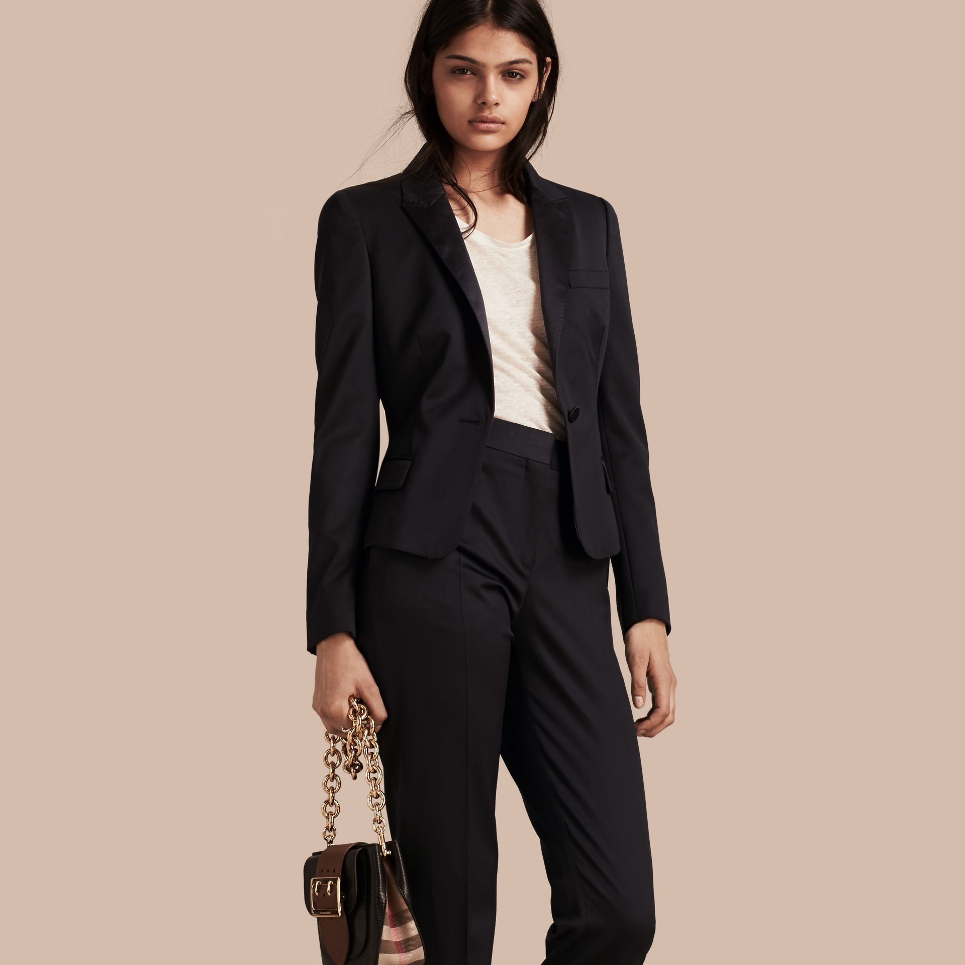 Wool Blend Tuxedo Jacket in Ink - Women | Burberry - gallery image 1