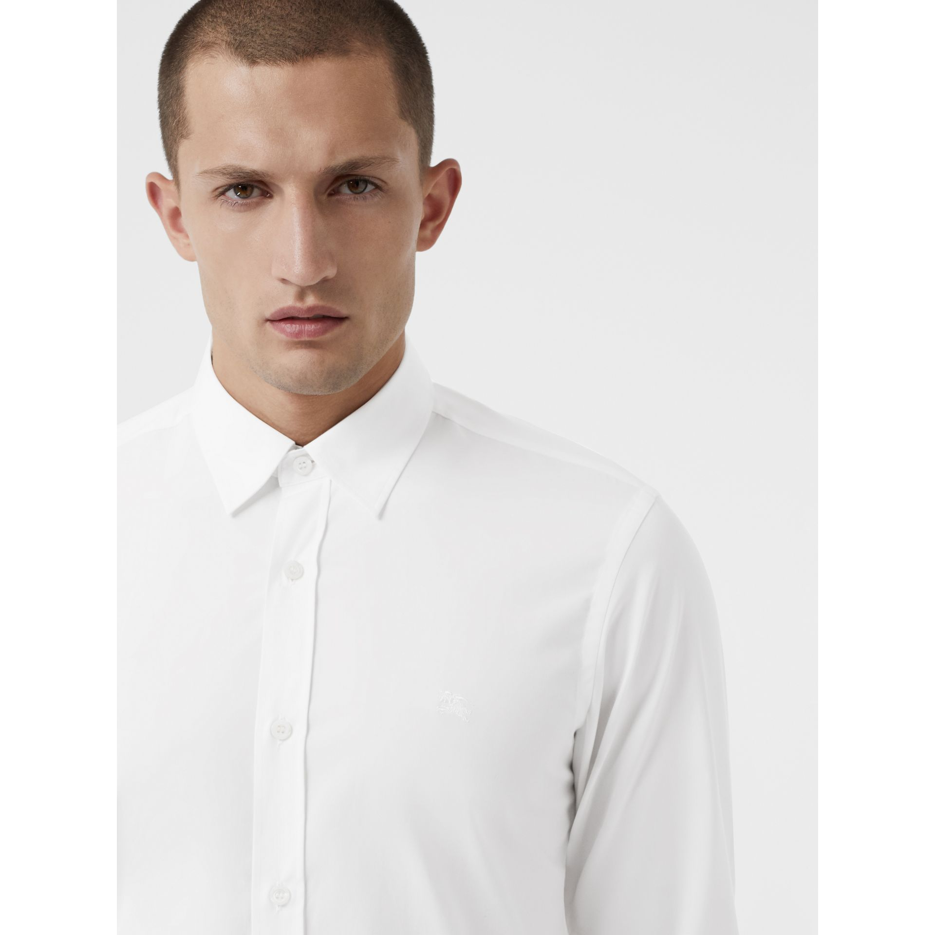 Check Cuff Stretch Cotton Poplin Shirt in White - Men | Burberry - gallery image 1