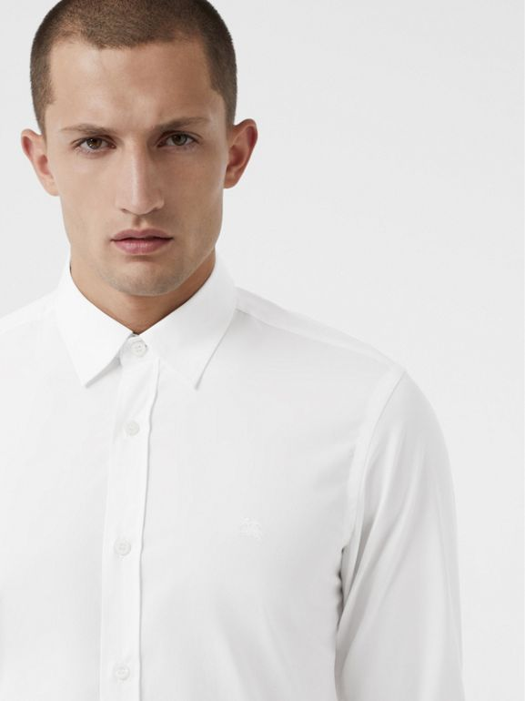 Check Cuff Stretch Cotton Poplin Shirt in White - Men | Burberry Hong Kong - cell image 1