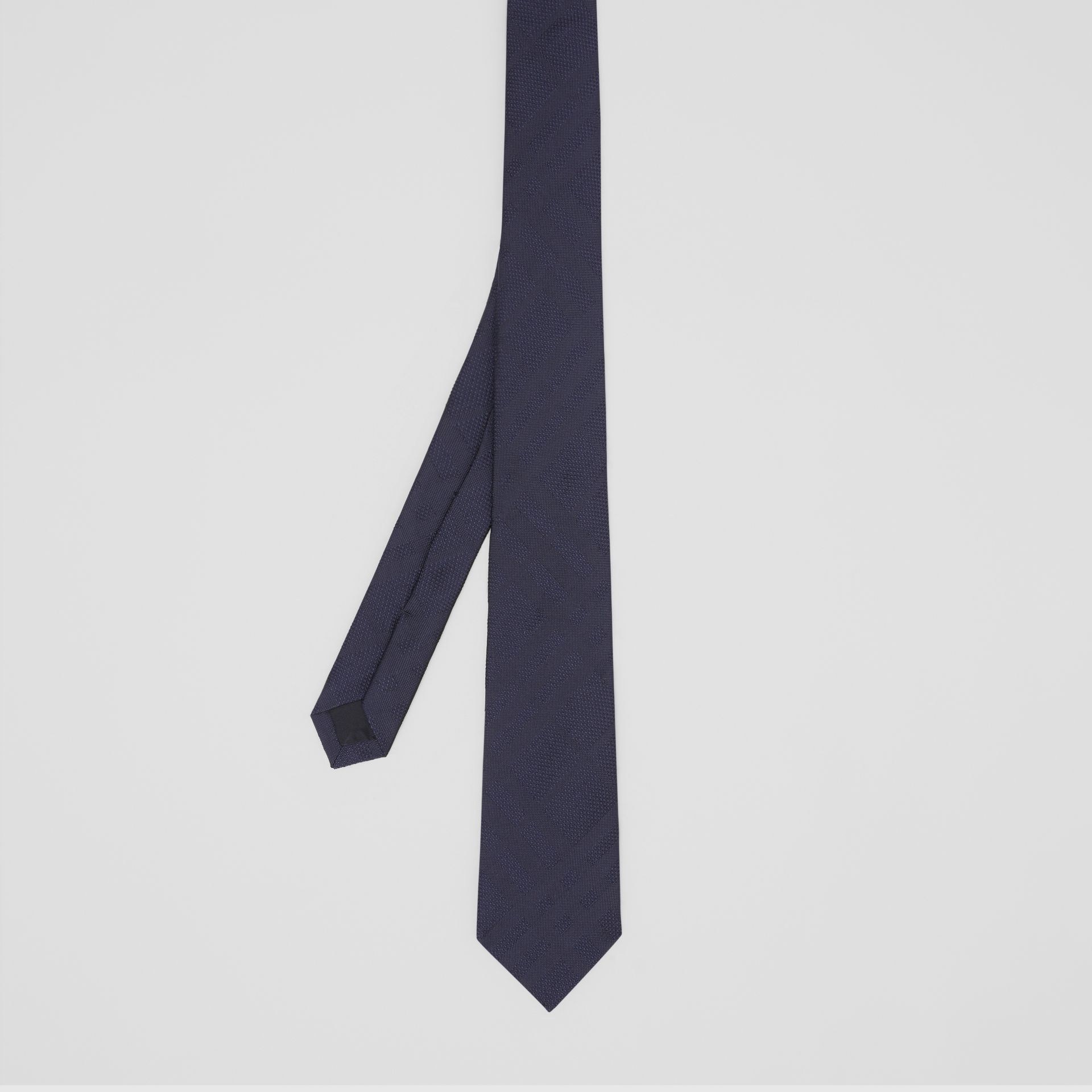 Classic Cut Check Silk Jacquard Tie in Navy - Men | Burberry United Kingdom - gallery image 4