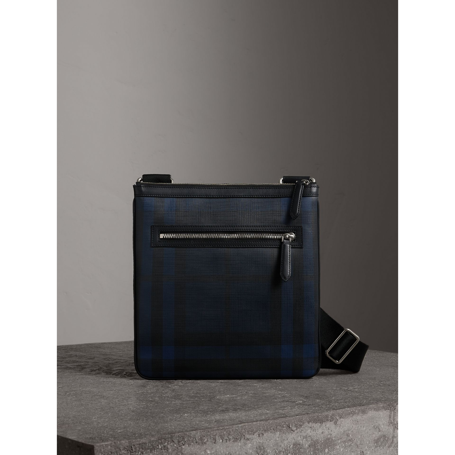 Leather Trim London Check Crossbody Bag in Navy/black - Men | Burberry Hong Kong - gallery image 0