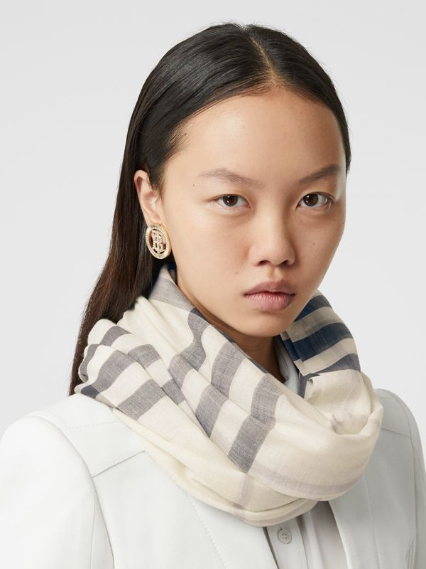 Lightweight Check Wool Silk Scarf in White/light Grey | Burberry - cell image 2