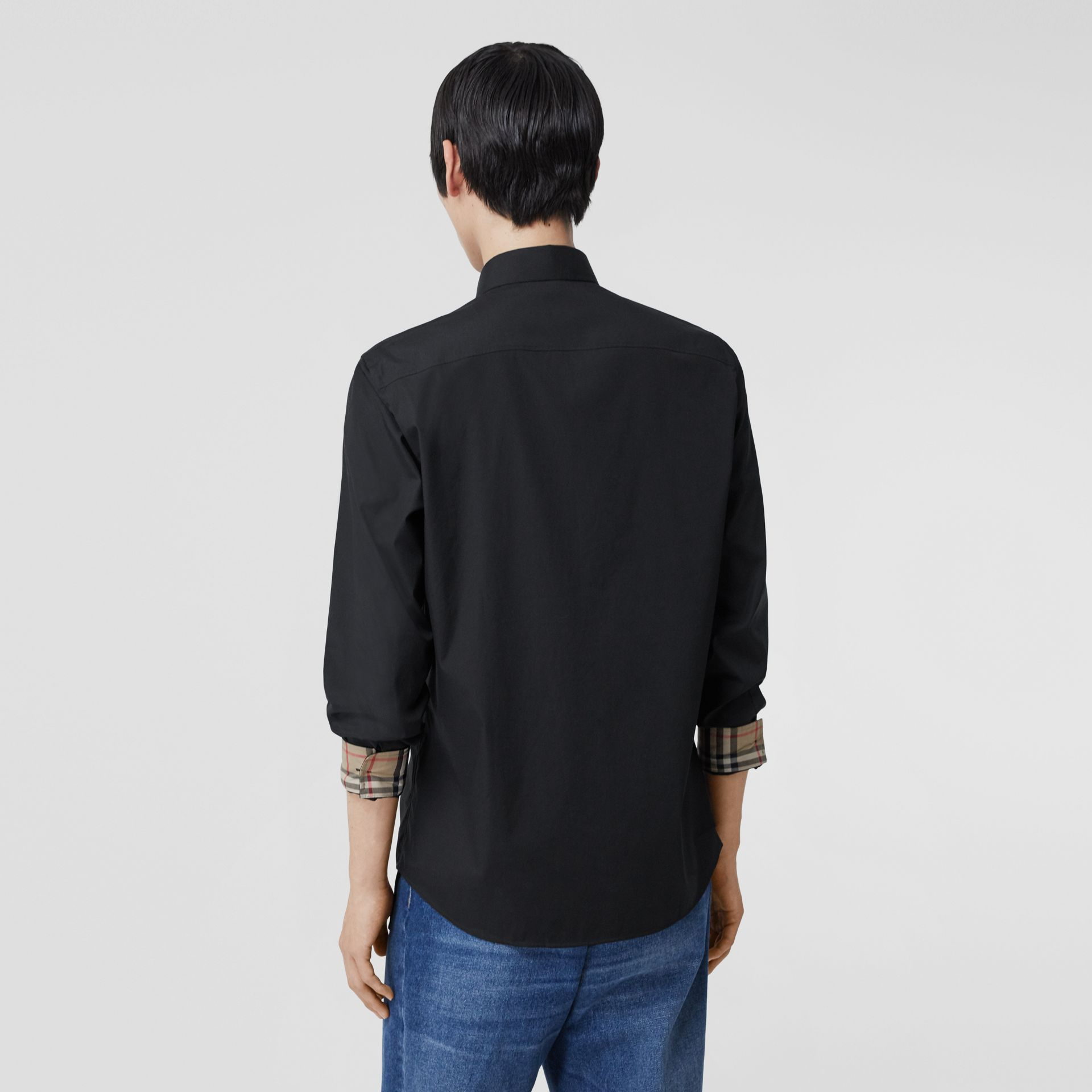 Slim Fit Embroidered EKD Stretch Cotton Shirt in Black - Men | Burberry - gallery image 2