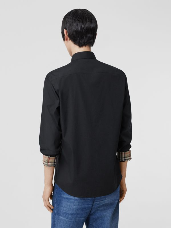 Slim Fit Embroidered EKD Stretch Cotton Shirt in Black - Men | Burberry - cell image 2