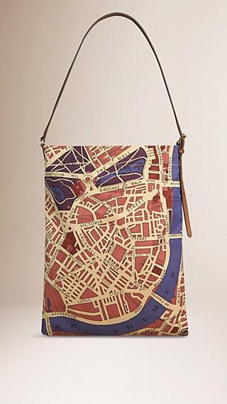 Sac porté épaule en coton avec plan de Londres imprimé