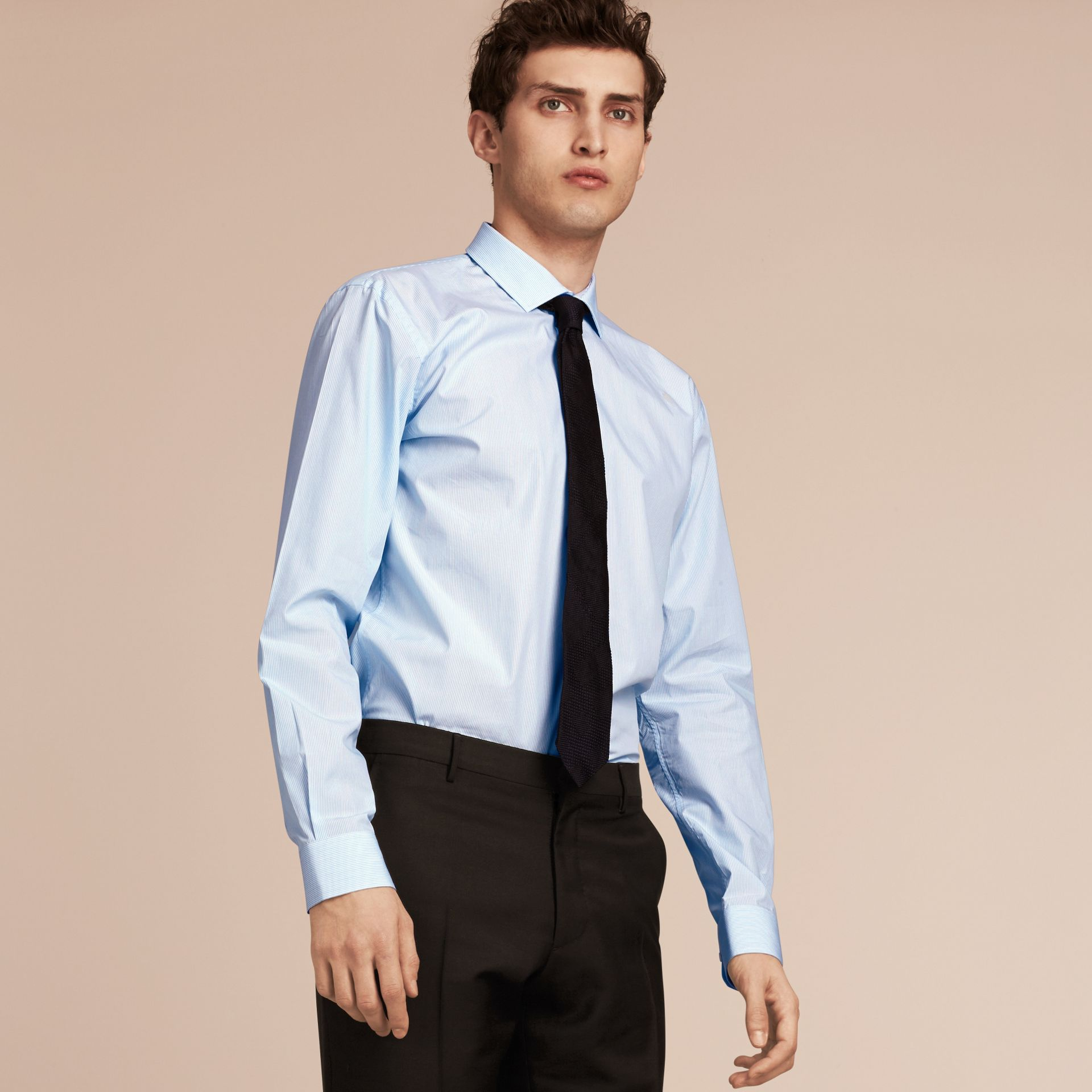 Modern Fit Striped Cotton Poplin Shirt in City Blue - Men | Burberry - gallery image 6