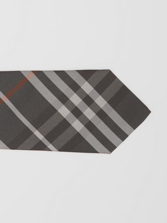 Classic Cut Vintage Check Silk Tie in Dark Steel Grey - Men | Burberry Australia - cell image 1