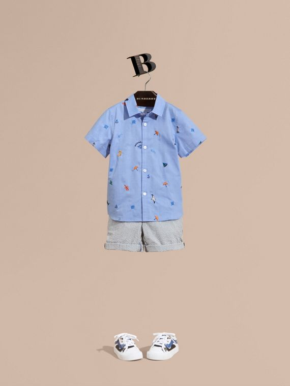 Embroidered Nautical Motif Cotton Oxford Shirt in Cornflower Blue - Boy | Burberry