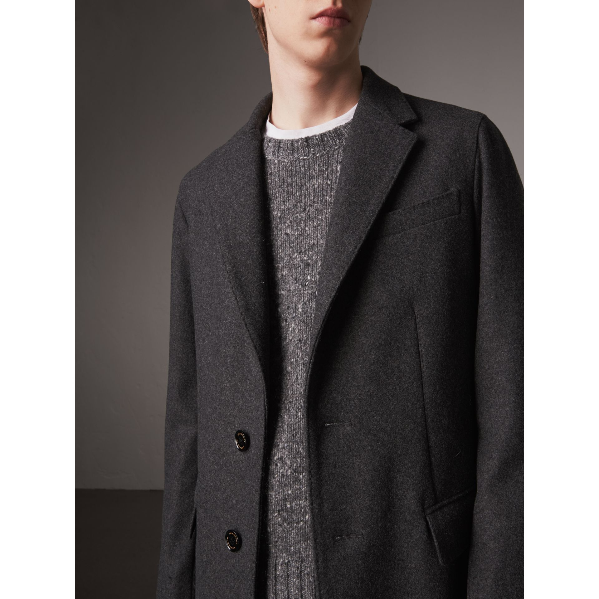 Melange Wool Blend Coat in Dark Grey - Men | Burberry Canada - gallery image 1