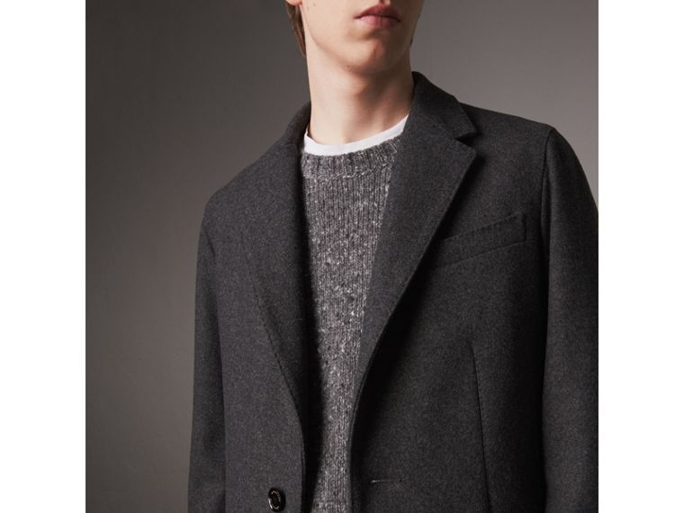 Melange Wool Blend Coat in Dark Grey - Men | Burberry Canada - cell image 1