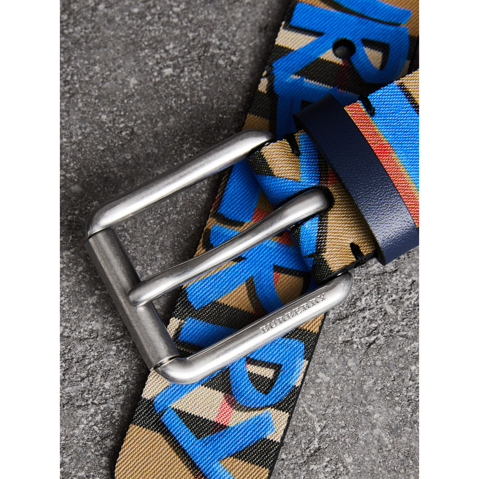 Graffiti Print Vintage Check Leather Belt in Canvas Blue/antique Yellow - Men | Burberry United Kingdom - gallery image 1