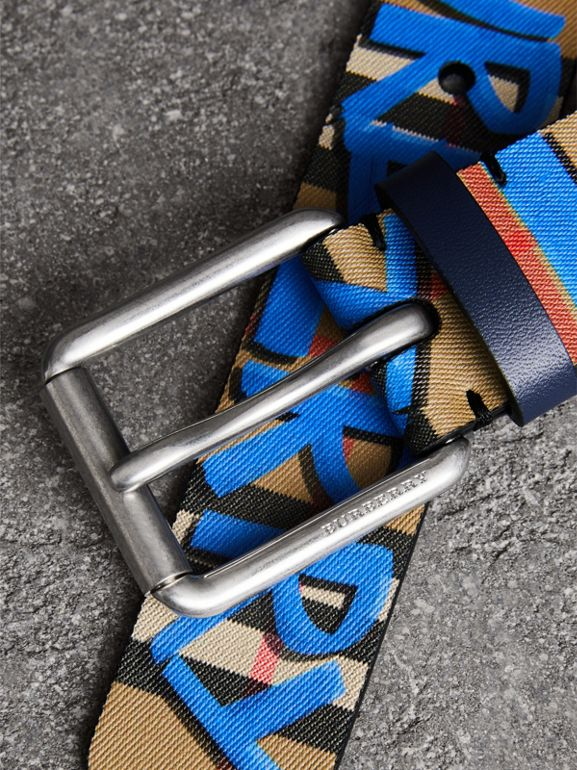 Graffiti Print Vintage Check Leather Belt in Canvas Blue/antique Yellow - Men | Burberry United Kingdom - cell image 1