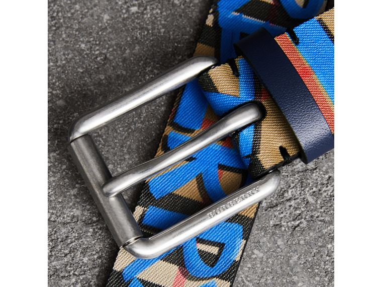 Graffiti Print Vintage Check Leather Belt in Canvas Blue/antique Yellow - Men | Burberry - cell image 1