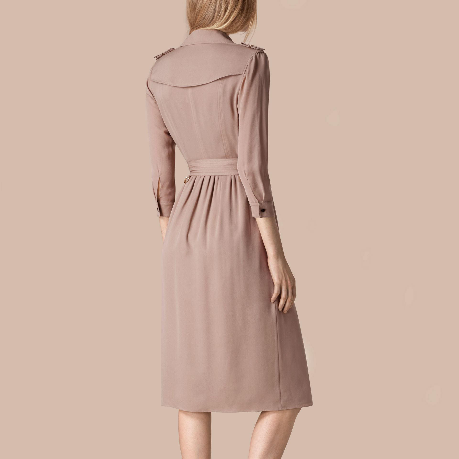 Silk Trench Dress Nude - gallery image 3