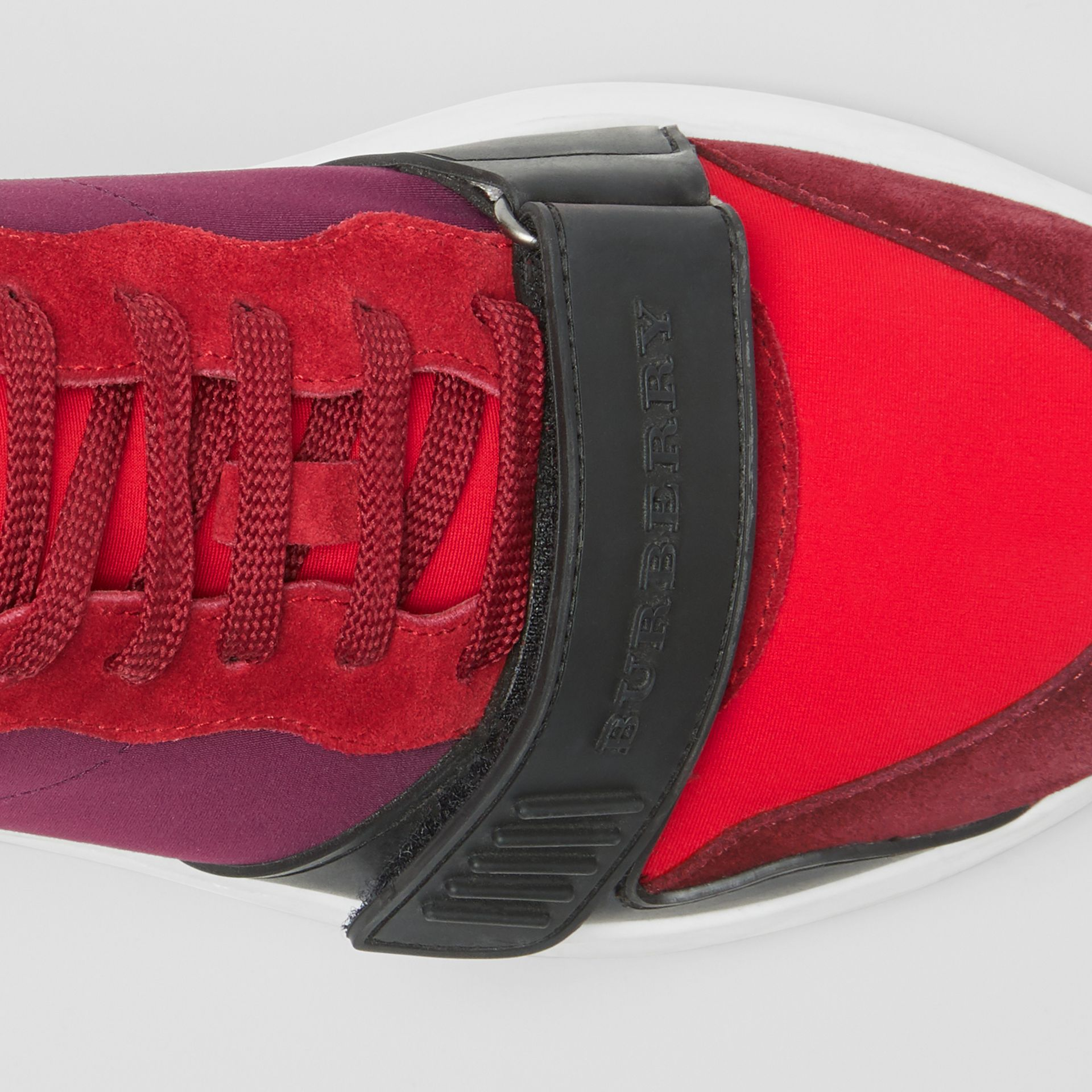 Suede, Neoprene and Leather Sneakers in Bordeaux - Men | Burberry - gallery image 1