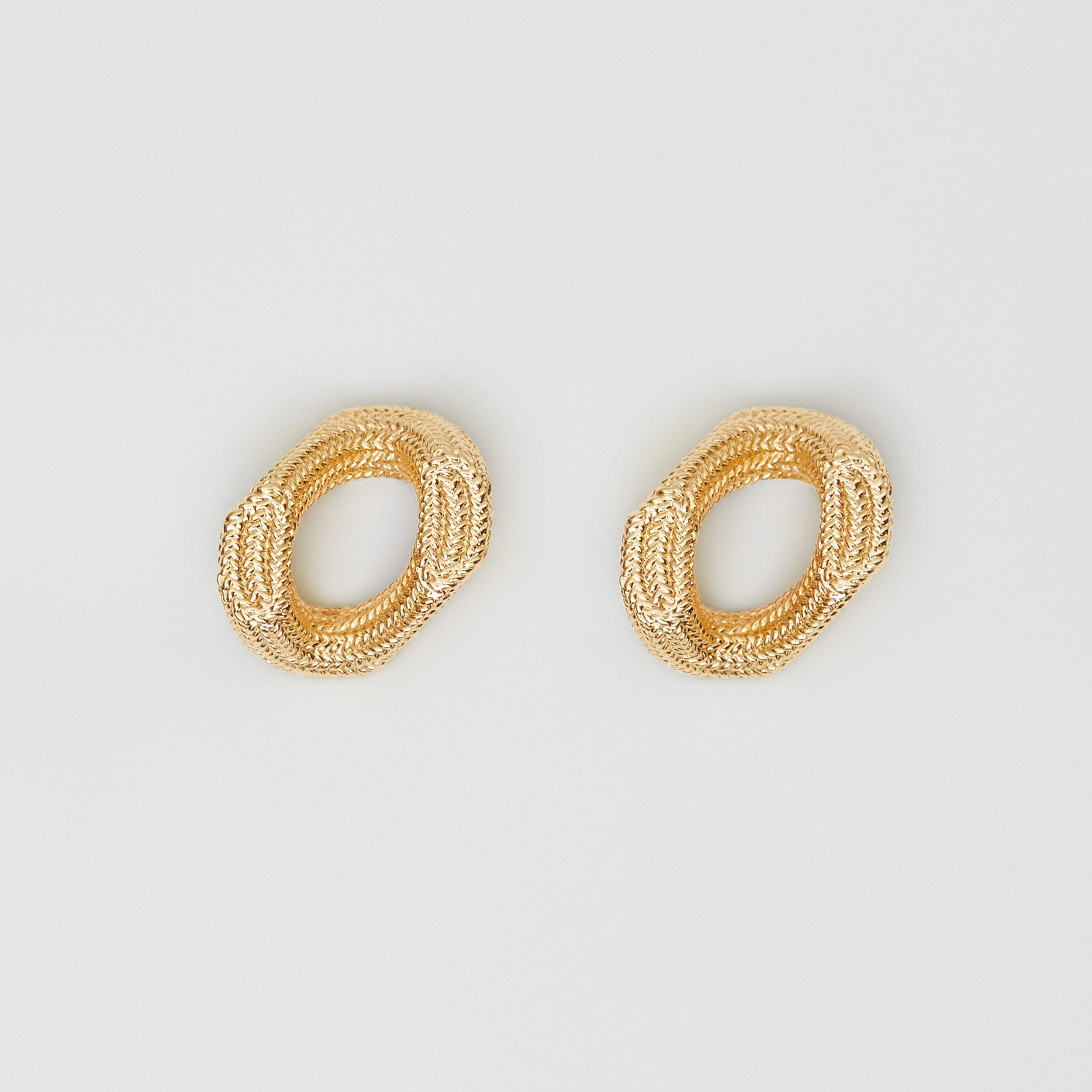 Crystal Gold-plated Chain-link Hoop Earrings in Light | Burberry - 1