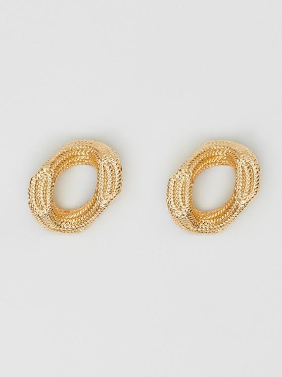 Серьги-кольца с покрытием из золота и кристаллами (Светлое Золото)